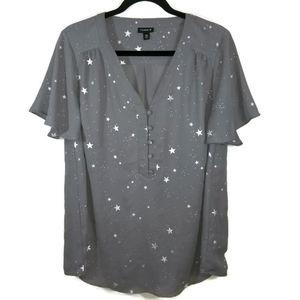 Torrid dark steel gray top shimmer silver star 00